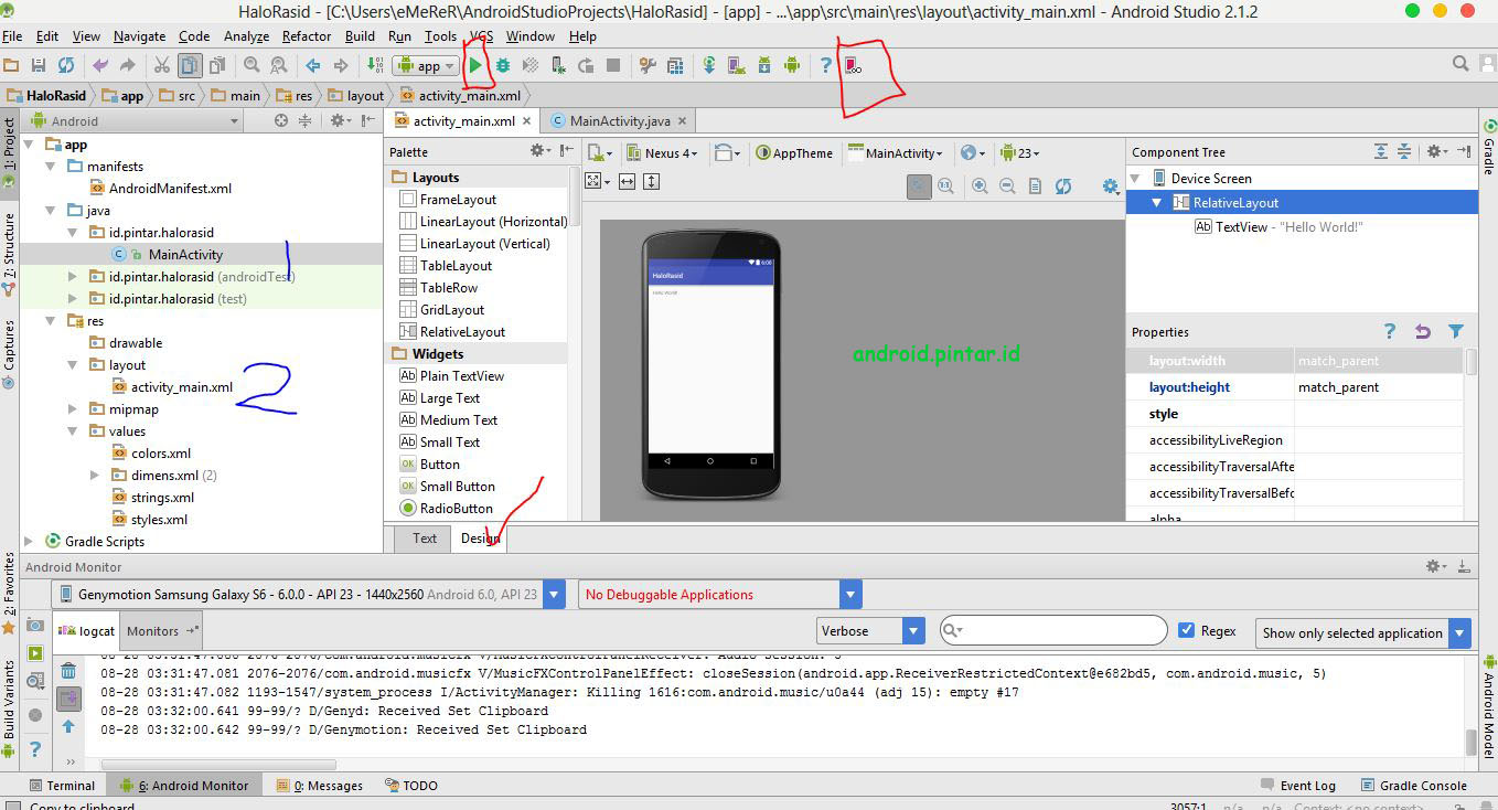 Project Pertama Android Studio 6 Halo Rasid